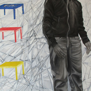 Inconspicuous by Rubkirat Vohra, Geometrical Painting, Oil on Canvas, Gray color