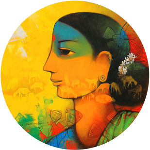 avyakta-02 by Sachin Akalekar, Expressionism Painting, Acrylic on Canvas, Yellow color