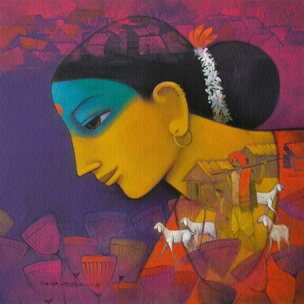 Avyakta-03 by Sachin Akalekar, Expressionism, Expressionism Painting, Acrylic on Canvas, Brown color