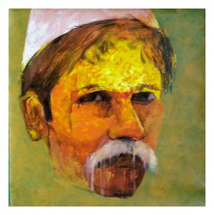 Face ..1 by Ganesh Jadhav , Expressionism Painting, Acrylic on Canvas, Beige color