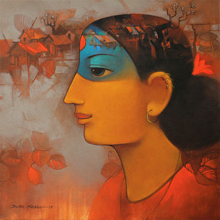 Avyakta-05 by Sachin Akalekar, Traditional Painting, Acrylic on Canvas, Brown color