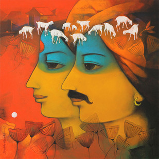 Avyakta-07 by Sachin Akalekar, Painting, Acrylic on Canvas, Brown color