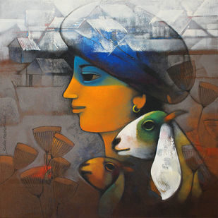 Avyakta-08 by Sachin Akalekar, Expressionism Painting, Acrylic on Canvas, Brown color
