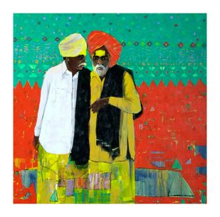 Shepherd.. by Ganesh Jadhav , Expressionism, Expressionism Painting, Acrylic on Canvas, Green color