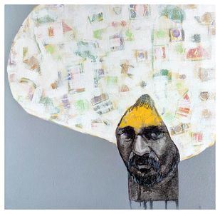 Face .2 by Ganesh Jadhav , Expressionism Painting, Acrylic on Canvas, Gray color