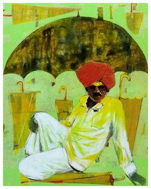 Shepherd by Ganesh Jadhav , Expressionism Painting, Acrylic on Canvas, Green color