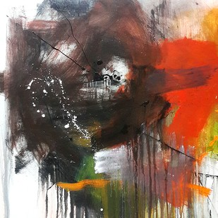 Space series by Gulrez Ali, Abstract Painting, Acrylic on Canvas, Brown color