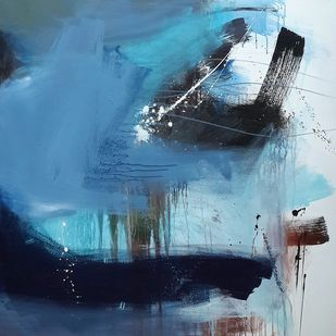 Space series by Gulrez Ali, Abstract Painting, Acrylic on Canvas, Blue color