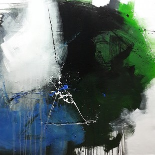 Space series by Gulrez Ali, Abstract, Abstract Painting, Acrylic on Canvas, Gray color