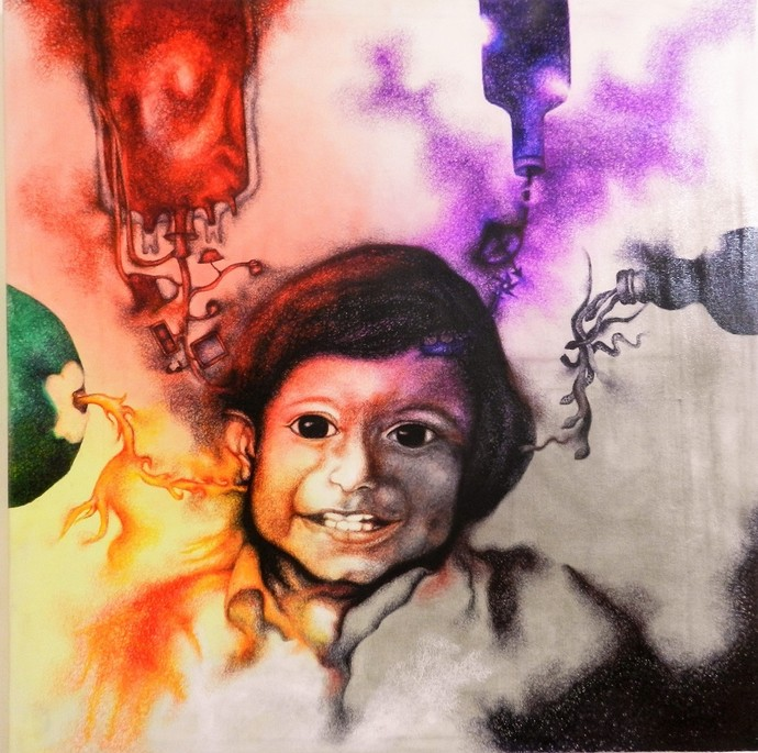 Life Relation-colours of joy by Upasna Tripathi, Expressionism Painting, Acrylic & Ink on Canvas, Brown color