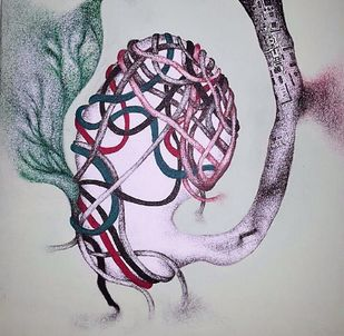 Life in future-1 by Upasna Tripathi, Illustration Drawing, Acrylic & Ink on Canvas, Gray color
