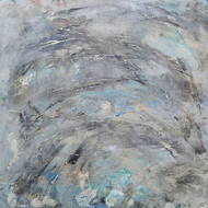 Cloud and Sea by Saravana Kumar, Abstract Painting, Mixed Media on Canvas, Gray color