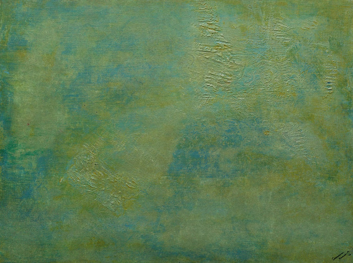 Algal Bloom by Saravana Kumar, Abstract Painting, Mixed Media on Canvas, Green color