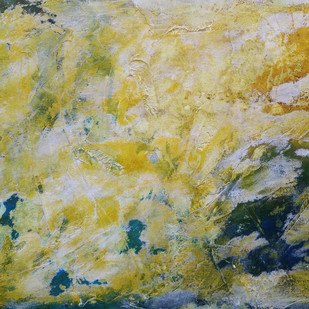 Canola Fields by Saravana Kumar, Abstract Painting, Mixed Media on Canvas, Beige color