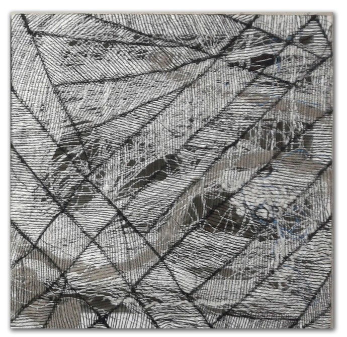 brazen 01 by Gunjan Arora & Rahul Jain, Abstract Textile, Mixed Media, Gray color