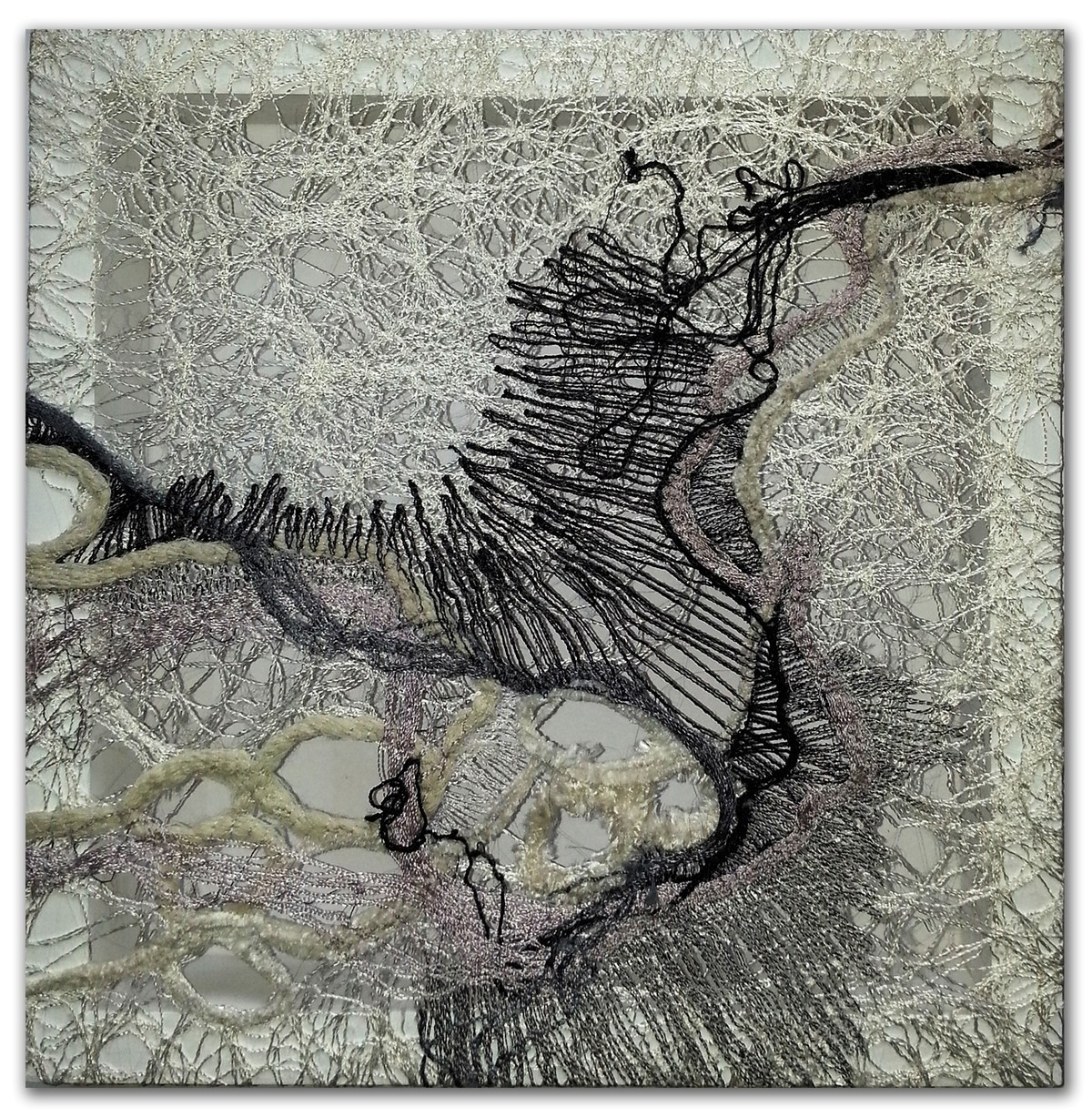 brazen and under 01 by Gunjan Arora & Rahul Jain, Abstract Textile, Mixed Media, Gray color