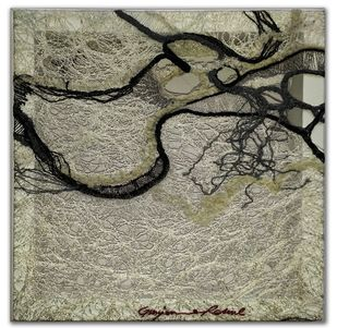 brazen and under 02 by Gunjan Arora & Rahul Jain, Abstract Textile, Mixed Media, Brown color