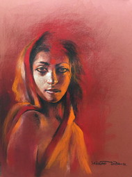 Her Smouldering Beauty I by Sanatan Dinda, Expressionism, Expressionism Drawing, Conte on Paper, Brown color