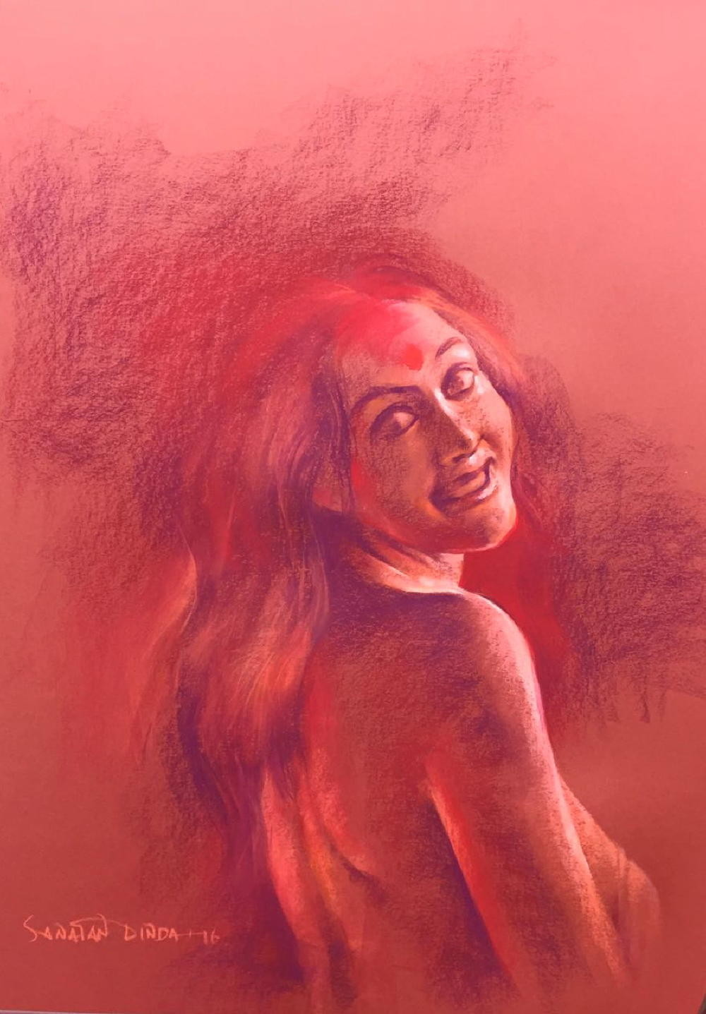 Her Smouldering Beauty IV by Sanatan Dinda, Expressionism Drawing, Conte on Paper, Pink color