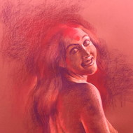 Sanatan dinda  her smouldering beauty iv  28 x 20 in rs 1.60l  '16 soft pastel on paper 3 1