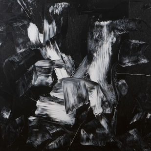 Holy Waters by Bharat Thakur, Abstract Painting, Acrylic on Canvas, Gray color