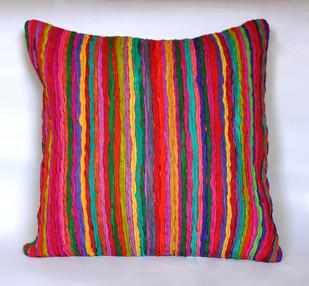 Katran Cushion : Straight Line Pattern : Multicolor Cushion Cover By Sahil & Sarthak