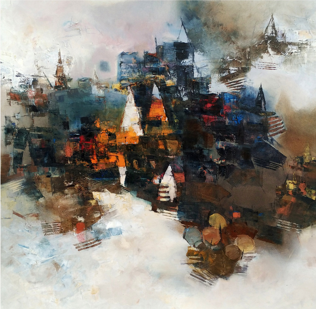 Banaras 2-2016 by Anand Narain, Abstract Painting, Oil on Canvas, Gray color