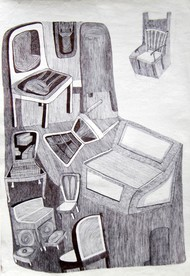 Chair_1 by Swapnali M, Illustration Drawing, Ink on Paper,