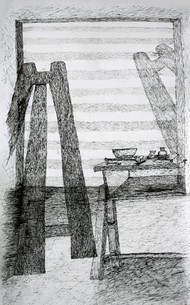 Classroom-4 by Swapnali M, Illustration Drawing, Ink on Paper, Gray color