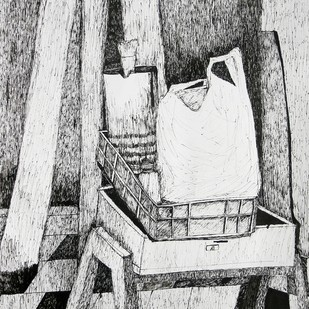Classroom-8 by Swapnali M, Illustration Drawing, Ink on Paper,