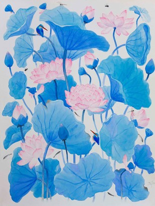 LOTUS by Suddhasattwa Basu, Impressionism Painting, Watercolor on Paper, Cyan color
