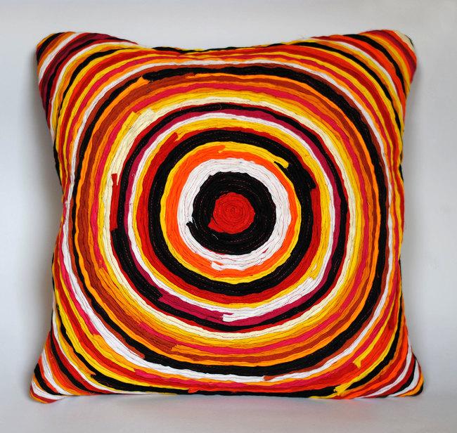 Katran Cushion : Chakri Pattern : Orange Multicolor Cushion Cover By Sahil & Sarthak