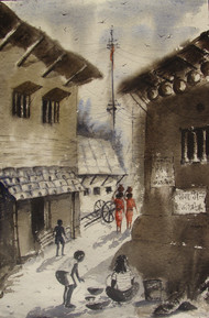 DAILY LIFE - I by Anirban Seth, Impressionism Painting, Watercolor on Paper, Brown color