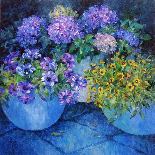 Garden Glory - 64 by Swati Kale, Expressionism Painting, Oil on Canvas, Blue color