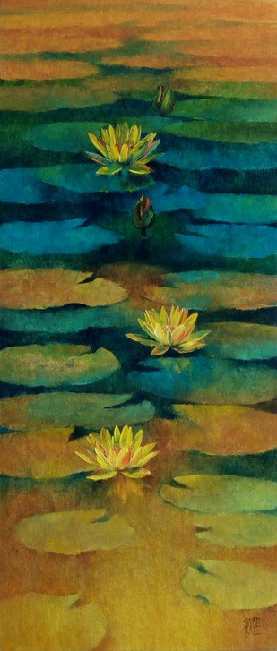Waterlilies - 85 by Swati Kale, Expressionism Painting, Oil on Canvas, Green color