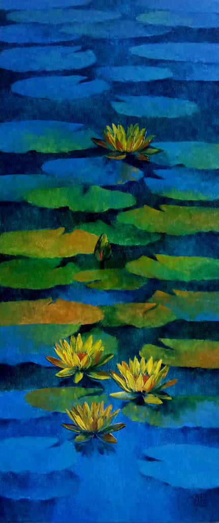Waterlilies - 86 by Swati Kale, Expressionism, Expressionism Painting, Oil on Canvas, Blue color