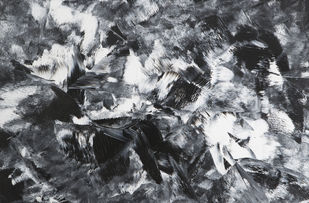 A Brush with Death by Bharat Thakur, Abstract Painting, Acrylic on Canvas, Gray color