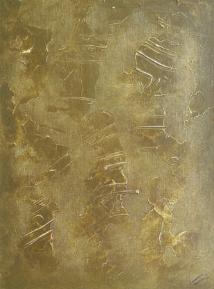 Formation by Saravana Kumar, Abstract Painting, Mixed Media on Canvas, Brown color