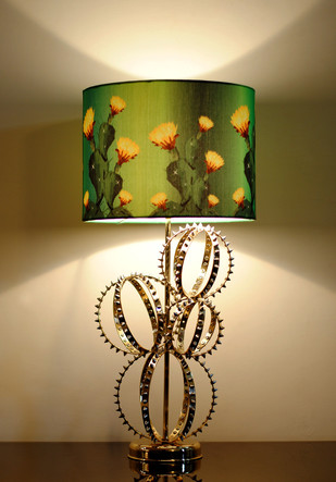 Barrel Cactus Lamp : Lamp Shade with Yellow flowers by Sahil & Sarthak, Contemporary Table Lamp, Brass, Beige color