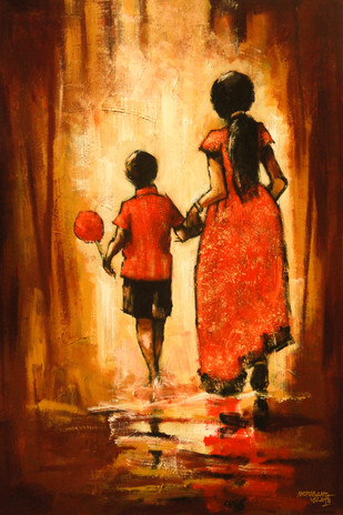 Siblings by Mopasang Valath, Expressionism Painting, Acrylic on Canvas, Brown color