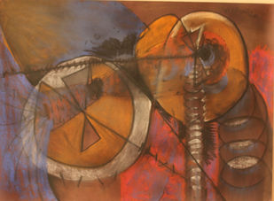 silence by selva senthil kumar, Geometrical Drawing, Dry Pastel on Paper, Brown color