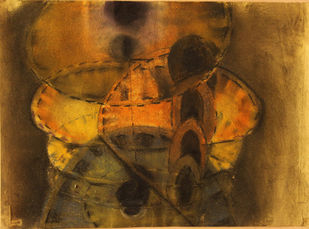 silence by selva senthil kumar, Geometrical, Geometrical Drawing, Dry Pastel on Paper, Brown color