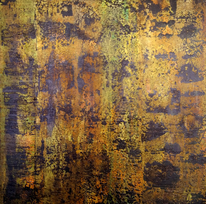 Terra by Saravana Kumar, Abstract Painting, Mixed Media on Canvas, Brown color