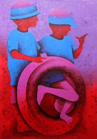 athkheliya by Lakhan Singh Jat, Expressionism Painting, Acrylic on Canvas, Purple color