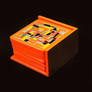 Coaster - Orange Grey Table Ware By Vandeep Kalra