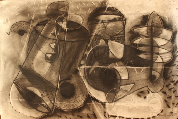 sounds by selva senthil kumar, Illustration Drawing, Charcoal on Paper, Brown color