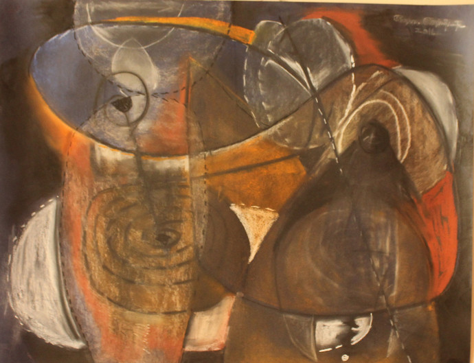emptiness by selva senthil kumar, Geometrical Drawing, Dry Pastel on Paper, Brown color