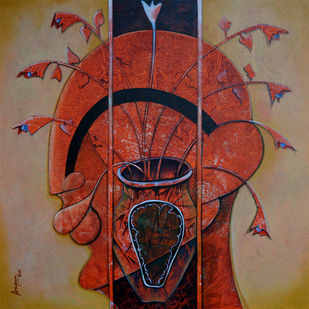 the blossoming mind by anupam pal, Expressionism Painting, Acrylic on Canvas, Brown color