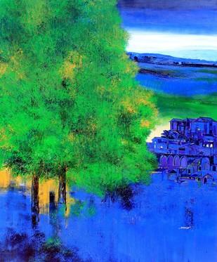 untitled by Bhaskara Rao Botcha, Impressionism Painting, Acrylic on Canvas, Green color