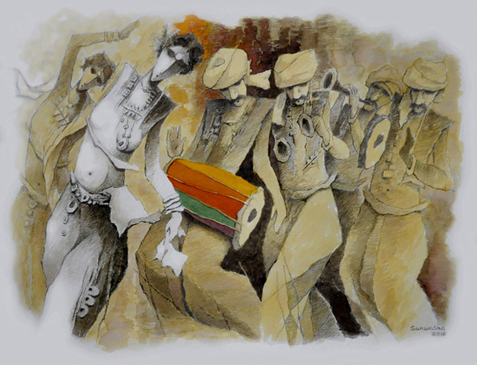musician by Surendra Pal Singh, Impressionism Painting, Watercolor on Paper, Brown color